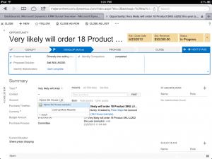 Microsoft Dynamics CRM iPad Opportunity.